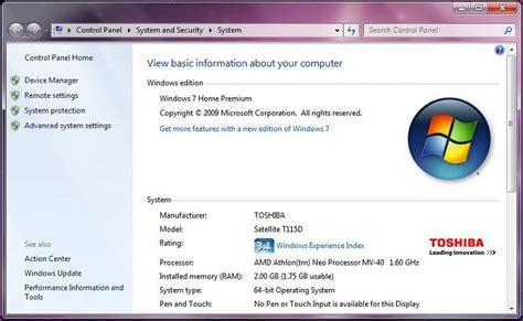 win 7 32 bit max ram 2gb ram installed 1 75gb useable on 64 bit win7