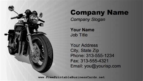 free motorcycle business card templates motorcycle business card