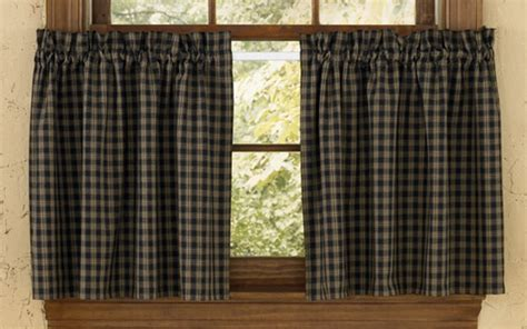 Black Tier Curtains Primitive Country Sturbridge Black Plaid Curtains 36l