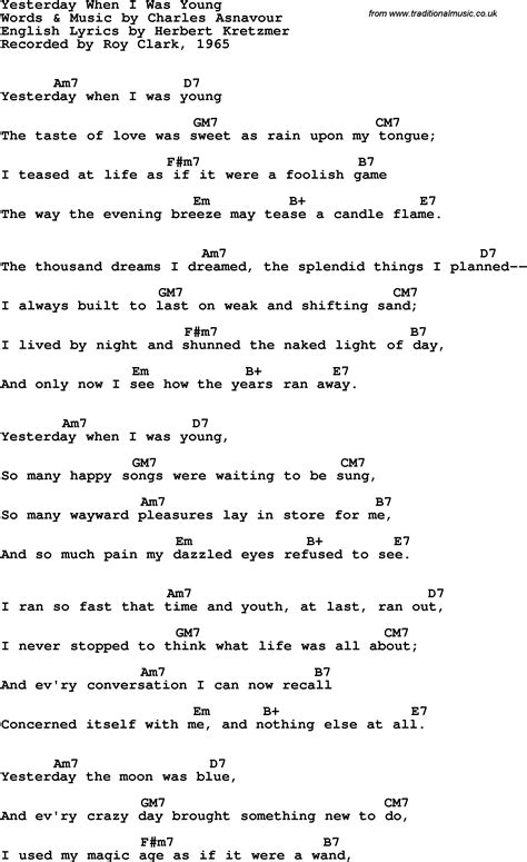 testo yesterday beatles song lyrics with guitar chords for yesterday when i was