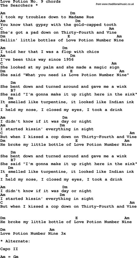 Chords To Apartment Number 9 Song Lyrics With Guitar Chords For Potion No Nine