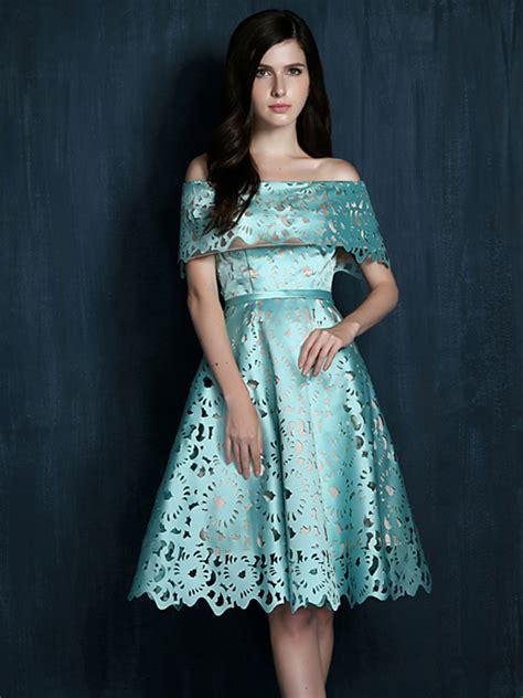 light blue off the shoulder dress light blue laser cut fold off shoulder prom skater dress