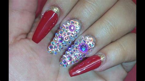 fotos de uñas de acrilico rojas u 241 as acrilicas rojas con dorado y cristal swarovsky youtube