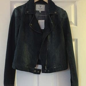 Lipstik Jean Moto 72 guess jackets blazers nwt guess destroyed denim cropped moto jacket s m from