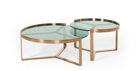 nesting coffee table aula nesting coffee table copper and green glass made