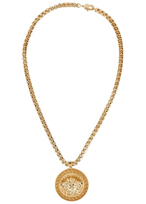 versace medusa gold tone chain necklace in metallic gold