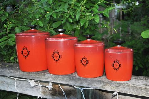 retro kitchen canister set burnt orange tomato by vintage west bend canister set in burnt by