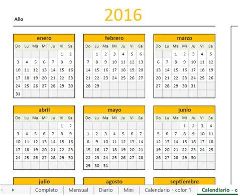 El Calendar Calendario 2016 En Excel Calendar Template 2016