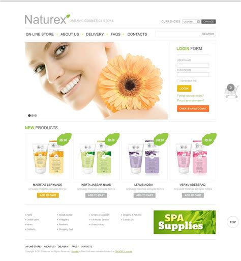 Organic Cosmetics Virtuemart Template 39023 Cosmetic Website Templates