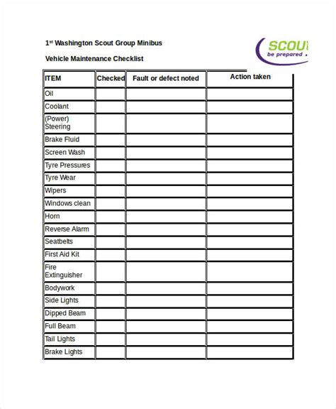 Vehicle Service Checklist Template by 9 Maintenance Checklist Exles Sles