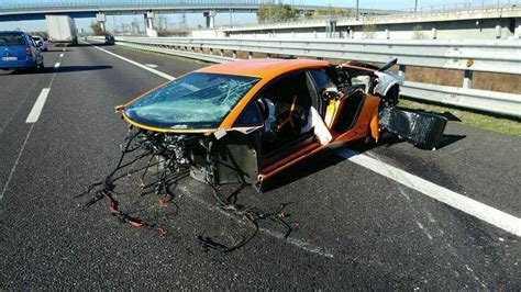 crashed red lamborghini lamborghini aventador sv torn apart in high speed crash in