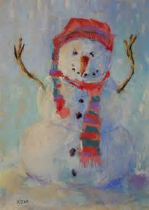 painting my world let it snow pastel snowman painting