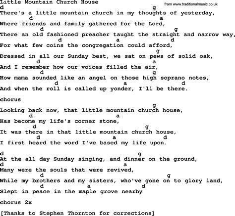 little house lyrics little mountain church house bluegrass lyrics with chords