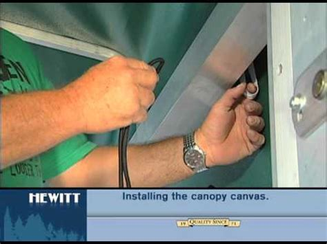 boat lift canopy bungee cord how to install the canvas onto the lift canopy frame youtube
