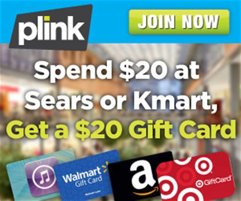Sears Choice Rewards Gift Cards - plink rewards spend 20 at kmart or sears get a 20 gift card of your choice