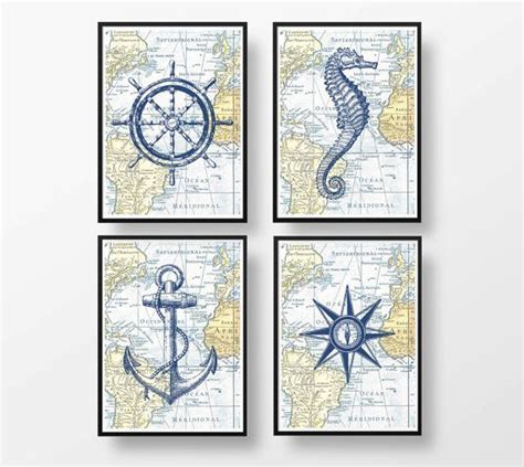 vintage nautical bathroom poster set of 4 vintage nautical map illustrations
