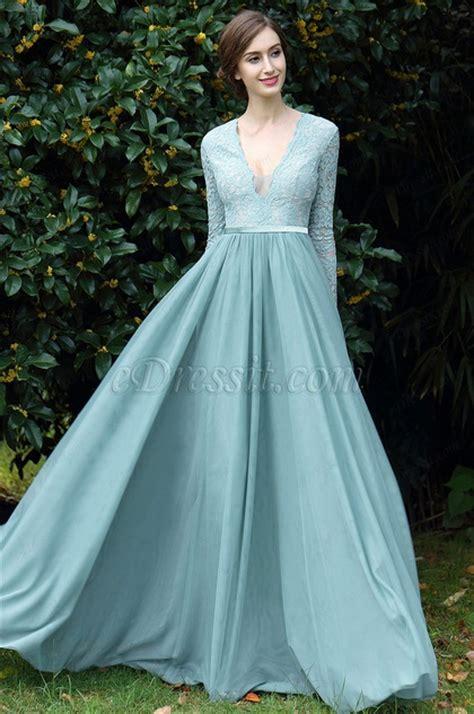 edressit light green plunging  neck lace evening dress
