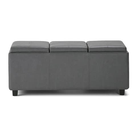 Simpli Home Avalon Storage Ottoman Simpli Home Avalon Grey Large Storage Ottoman Bench With 3 Serving Trays 3axcava