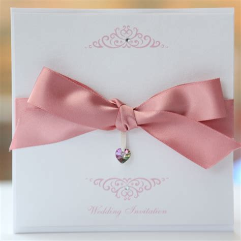 Einladungskarten Hochzeit Pink by Bow Invitation With Swarovski Pink White