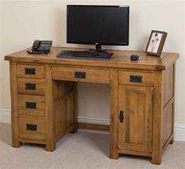 Computer Desk Home Furniture Cotswold Solid Oak Rustic Wood Pc Computer Desk Home Workstation Furniture Ebay