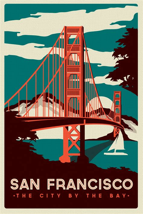 Plakat Retro an francisco golden gate bridge retro vintage poster silk