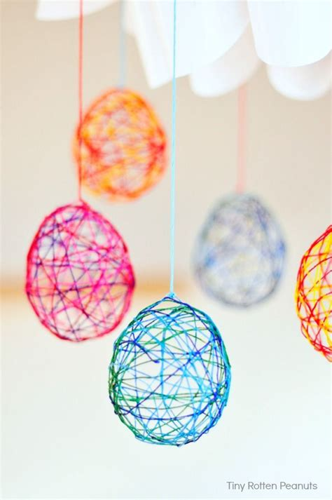 cool craft string easter eggs egg crafts easter and craft