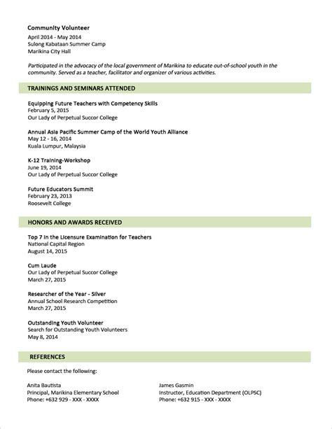 resume format for sle resume format for fresh graduates two page format