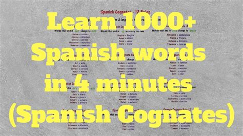 learn spanish words 0956257852 12 spanish cognates rules learn 1 000 spanish words in 4 minutes youtube