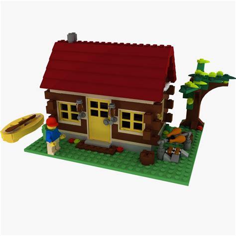 lego log cabin 3d model logs cabin lego