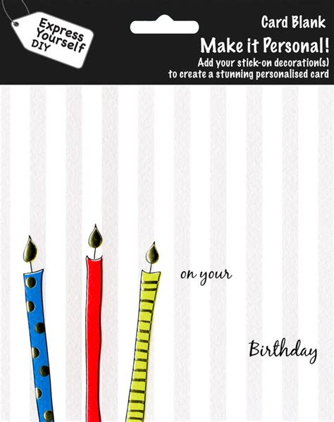 make personal cards make it personal blank card candles on grey stripe on