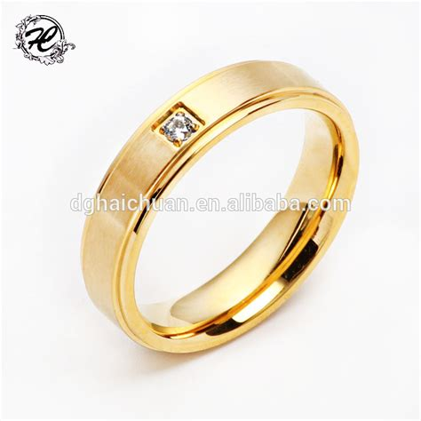 golden ring design for simple high pilishing smooth stainless steel simple gold