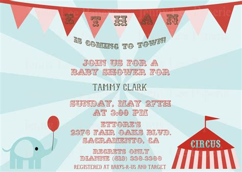 Circus Baby Shower Invitation Templates by Circus Baby Shower Invitations Free Printable Baby