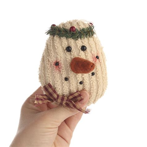 primitive plush snowman head ornament christmas