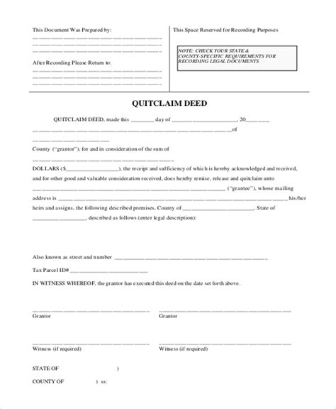 printable quit claim deed texas blank contract for deed