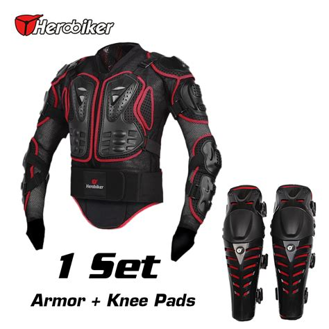 motocross protection herobiker motorcycle riding armor jacket knee pads