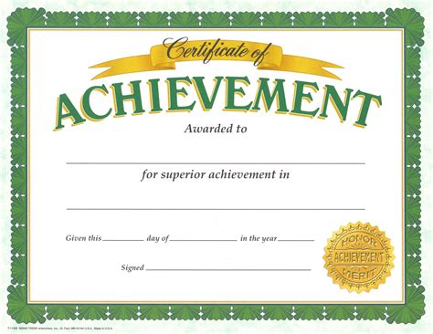 template for certificate achievement certificates certificate templates