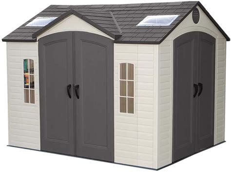 lifetime  plastic storage shed  double doors