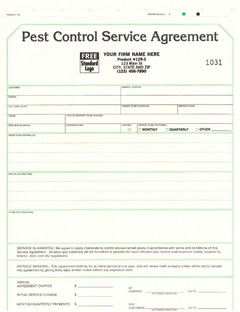 pest service agreement template pest contract template