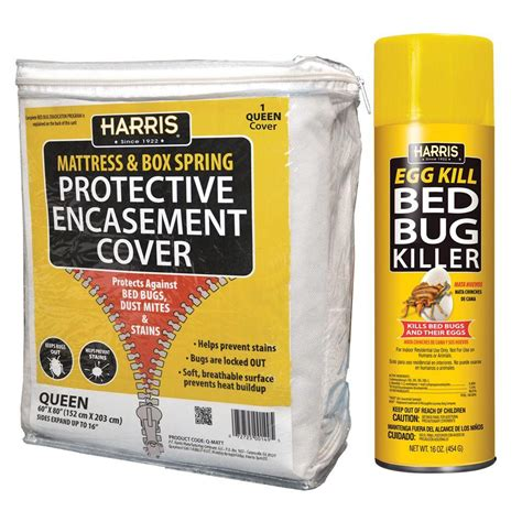 harris queen bed bug mattress cover  bed bug spray  pack matt qvp  home depot