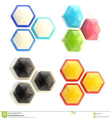 Set Of Four Colorful Abstract Glossy Cubes Isolated Set Of Four Abstract Emblems Made Of Hexagons Stock Photos Image 24234653