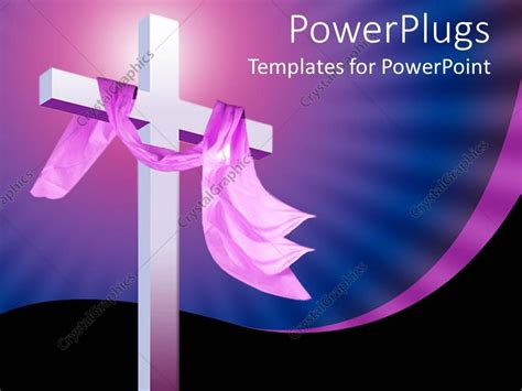 Powerpoint Template Christian Religion Theme With White Cross And Pink Cloth Blue And Black Christian Powerpoint Templates