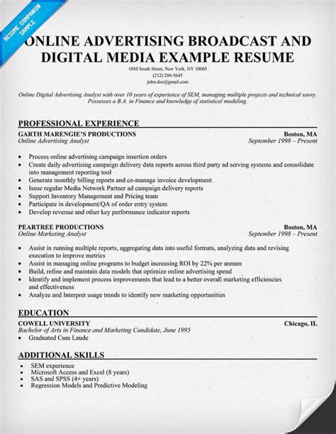Digital Resume Example by Resume Sample Marketing Analyst