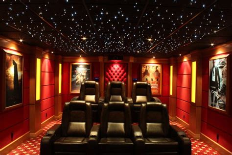home theater with quot starry quot ceiling track or recessed