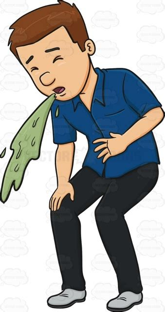 throwing up in a blue shirt vomiting clipart vector
