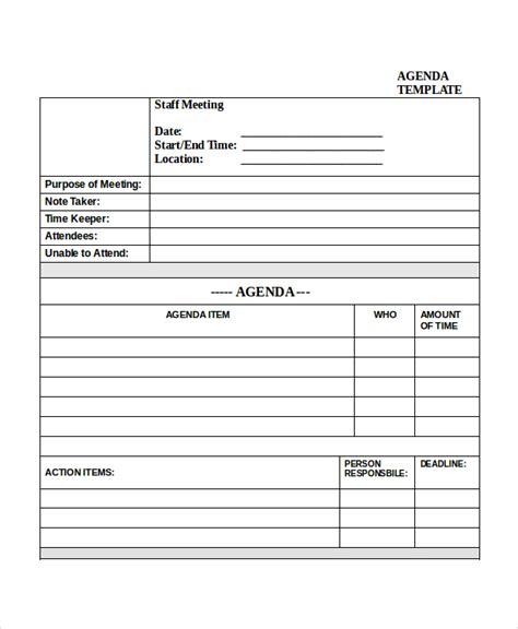 meeting agenda template 10 free word pdf documents