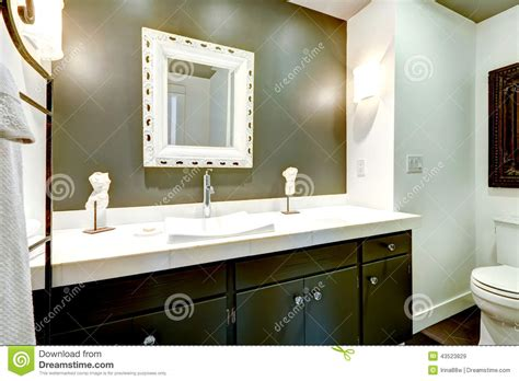 Small Bathroom Vanities Ideas Dark Bathroom Vanity Cabinet With White Top Stock Photo