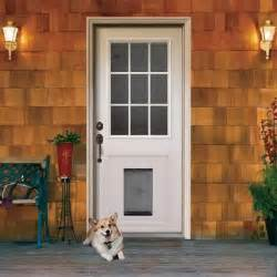 Exterior Door With Doggie Door 9 Lite Primed White Steel Entry Door With Medium Pet Door And Brickmo
