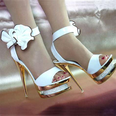 pretty bowknot wedding shoes crytal gold platform