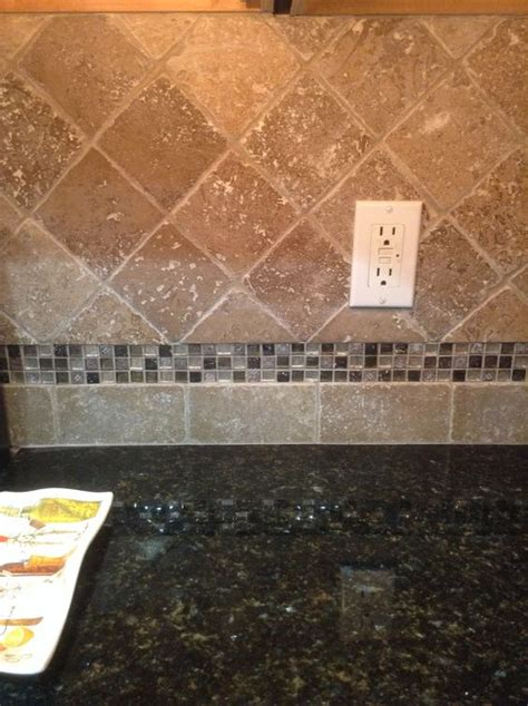 backsplash with accent tiles new travertine tile backsplash with glass mosaic accent