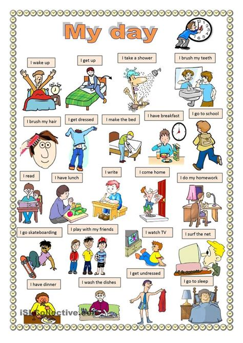 english printable worksheets daily routine my day english pinterest language teaching and